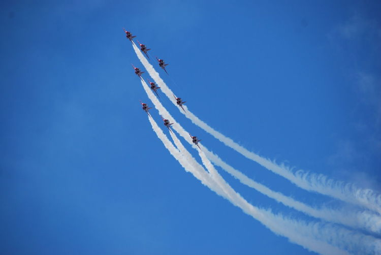 Fighter Planes Performing Airshow In Sky
