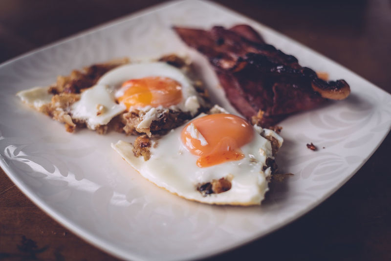 Bacon Breakfast Close-up Day Egg Egg Yolk Food Food And Drink Freshness Fried Egg Indoors  No People Plate Ready-to-eat Sunny Side Up