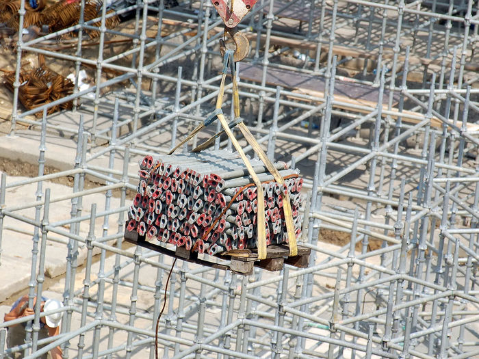 High angle view of food in container at construction site