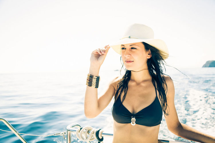 Boating Fun Happy Hat Lifestyle Mediterranean  Mediterranean Sea Nature Summer Vacation Vacations Beautiful Woman Bikini Boat Face Lifestyles Ocean Outdoors Sailing Sea Summer Women Yacht Yachting Young Women