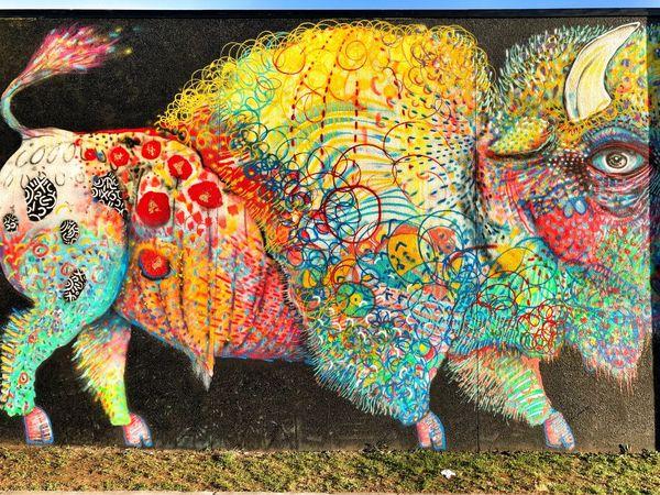 Wall art, downtown Tulsa Art Installation Tulsa Tulsaexplorersclub Wallart Murals VSCO Vscocam Multi Colored Art And Craft Pattern Creativity No People Full Frame Backgrounds