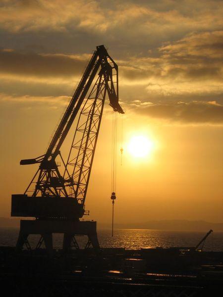 North Shields crane Crane Shipbuilding Orange Color Silhouette River Tyne, North Shields Sunset