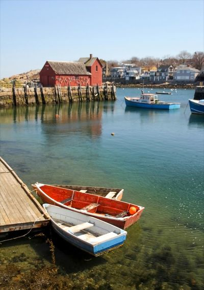 Dories by Motif 1 Motif 1 Rockport Ma Architecture Boat Building Exterior Built Structure Clear Sky Day Dockside Dories Nature Nautical Vessel Outdoors Rockport Harbor Rowboat Sky Transportation Water
