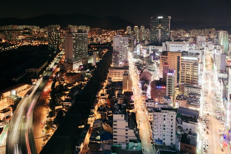 Soon we are going to travel in Asia for a year. Looking forward 😎 Illuminated Architecture Night City Cityscape High Angle View Built Structure Residential Building Outdoors Modern Skyscraper The City Light Architectural Feature Busan Korea Korean