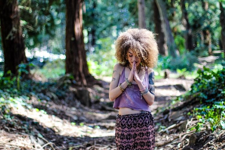 Peace be with you Nature Photography Lightroom EyeEm Best Shots EyeEmNewHere EyeEm Gallery Kayla De Guzman Yoookayla Concept One Person Curly Hair Women Young Women Plant Hairstyle Hair Leisure Activity Young Adult Casual Clothing Lifestyles Nature Smiling Beauty Outdoors