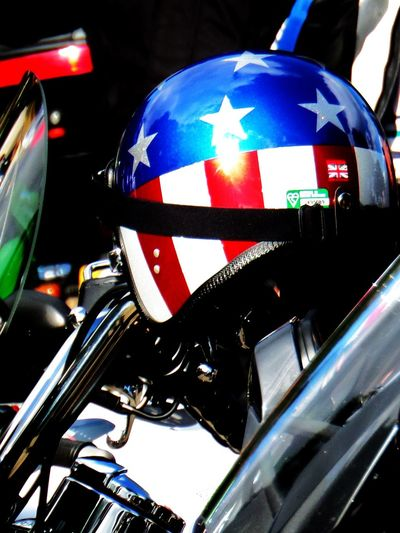 American Flag Design. Arrangement. Blue, Metallic. Motorcycle Helmet. No People. Beauty In Nature Diamond Pattern No People. Outdoors One Helmet. Red Stars And Stripes. Stars. White