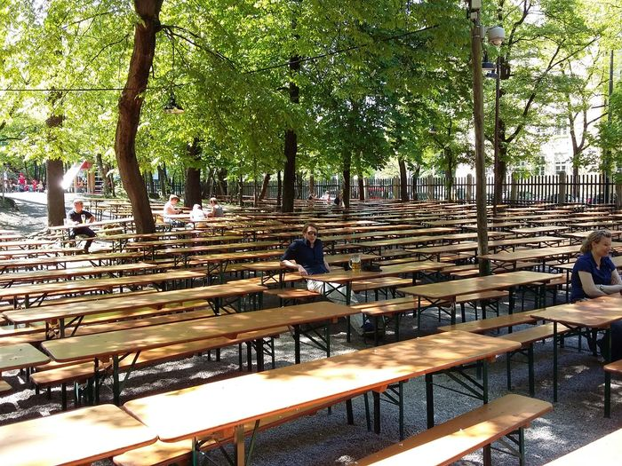 Waiting at the Biergarten. · Munich München Germany Augustiner August Beer Garden Benches Many Benches Benches All Around Bench Paradise Summer Early Bird Showcase July The Purist (no Edit, No Filter)