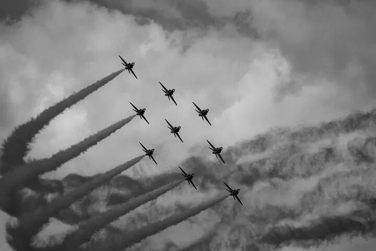The RAFs Red Arrows... OK they should be called the Black Arrows in my edit lol but still amaze me to this day :) EyeEm Best Edits Black & White Aircaft