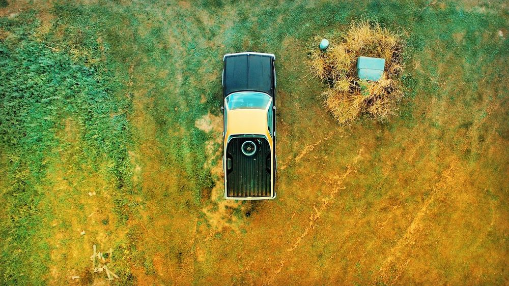 No People Day Outdoors Nature Close-up Directly Above Yellow Elcamino EyeEm Best Shots New Jersey Photography New Jersey Dronephotography Droneshot Classic Car Fall Colors Single Object High Perspective