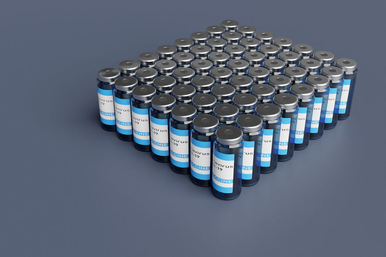 High angle view of blue container over white background