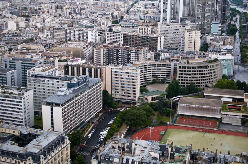 Aerial View Architecture Building Building Exterior Built Structure City Cityscape Day Football High Angle View Modern No People Outdoors Paris Skyscraper Tree Urban Landscape