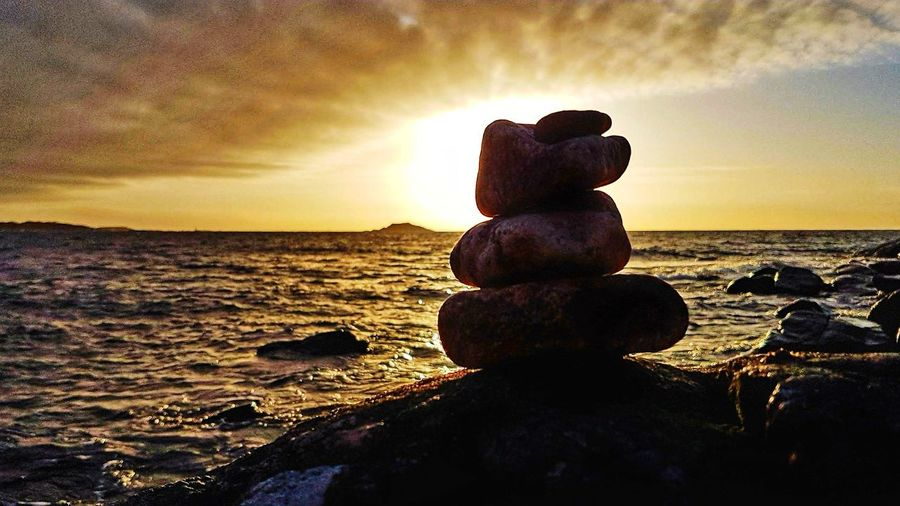 Sea Stack Sunset Beach Balance Water Zen-like Rock - Object Tranquility No People Tranquil Scene Stability Beauty In Nature Horizon Over Water Reflection Nature Cloud - Sky Harmony Pebble Landscape Details In Nature Earth 🌏 Is Beautiful Sweden By The Coast Baltic Sea