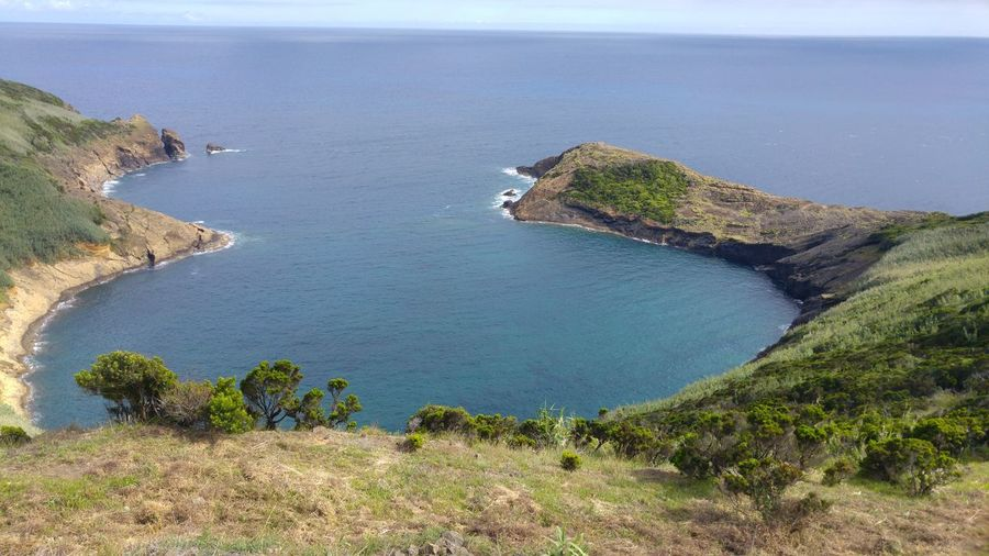 Faial Island Atlantic Ocean Green Grass Bay Eight Number Sunny Day Azores Islands Portugal