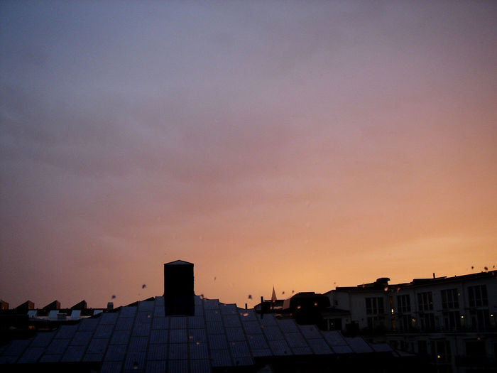 Rain clouds in the sunset. Architecture Building Exterior Copy Space Exterior Nature No People Outdoors Romantic Sky Roof Silhouette Sky Sunset