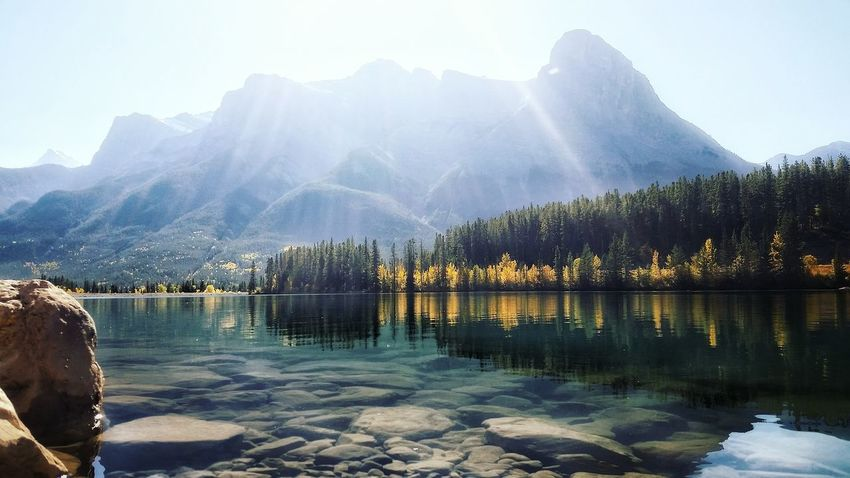 Water Mountain Reflection Lake No People Outdoors Scenics Nature Beauty In Nature Day Sky Light Canada150 Alberta Hiking Canmore Canmore Alberta Canada Rocky Mountains Fall Colors Fall Beauty Mountain Range Travel Destinations Beauty Peaceful Moments
