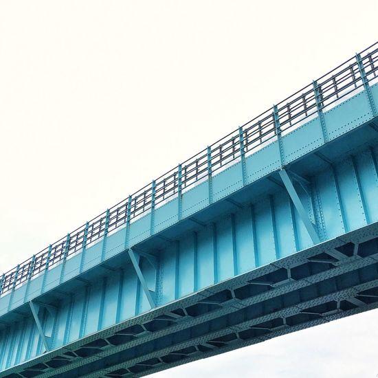 Blue bridge Blue Architecture Built Structure Low Angle View Bridge - Man Made Structure Connection Copy Space Clear Sky