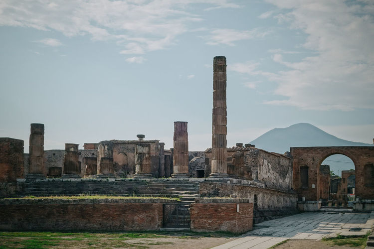 Ancient Ancient Civilization Architectural Column Architecture Built Structure Capital Cities  Cloud Cloud - Sky Cloudy Column Day Famous Place Historic History Monument No People Old Outdoors Pompeii  Sky Stone Material The Past Tourism Travel Destinations Vesuvius