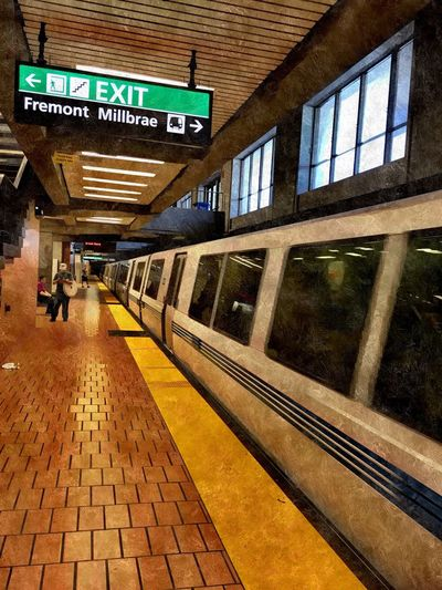 """Left At The Station"" Public Transportation BART Berkeley Bart Station Train Transportation Urbanphotography Urban"
