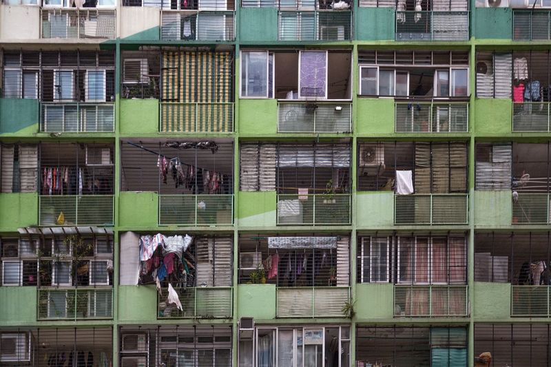 Color gradient Building Exterior Built Structure Architecture Colourgradient Green Public Housing HongKong Kennedy Town Streetphotography