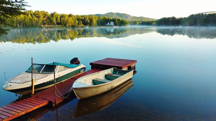 Morning at Saint-Donat Water Nautical Vessel Lake Moored Mountain Reflection High Angle View Sky Lakeshore Calm First Eyeem Photo