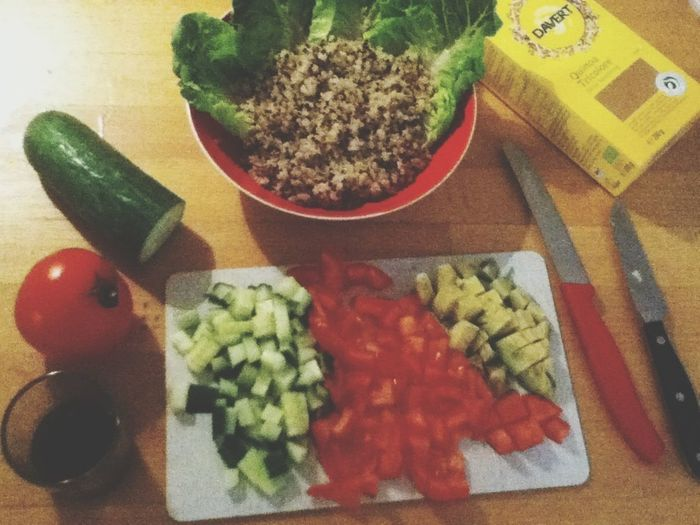 Preparing dinner Vegan Quinoa Salad Go Vegan! 🌼🌱