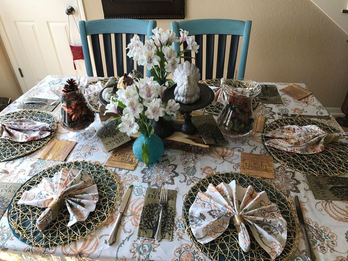 High angle view of decorations on table at home
