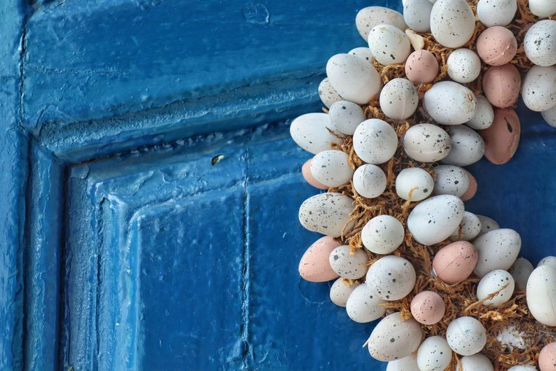 Door wreath EyeEm Selects Blue No People Food Food And Drink Large Group Of Objects Wood - Material Multi Colored Egg Arrangement Nature Close-up Pattern Still Life Day