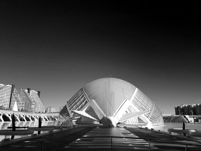 Architecture City Modern Sky Black And White Day Outdoors València Clear Sky No People City Of Arts And Sciences Of Valencia, Spain Travel Destinations Building Exterior Built Structure Black And White Friday EyeEmNewHere The Graphic City My Best Photo Copy Space Transportation Nature Travel Building Tourism Office Building Exterior Arts Culture And Entertainment Illuminated Skyscraper Luxury
