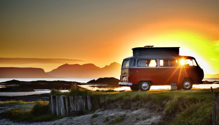 VW Camper van Beauty In Nature Land Vehicle Landscape Mode Of Transport Mountain No People Orange Color Outdoors Scenics Sky Sunset Tranquil Scene Transportation Travel Yellow