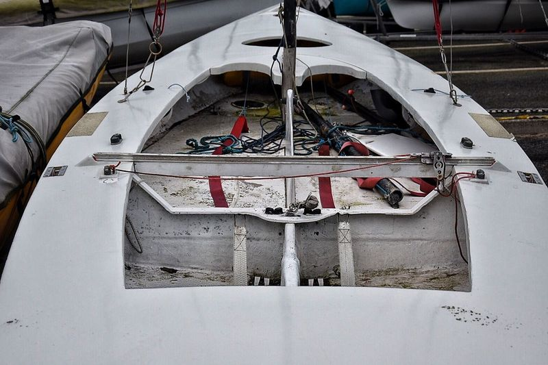 High angle view of boat