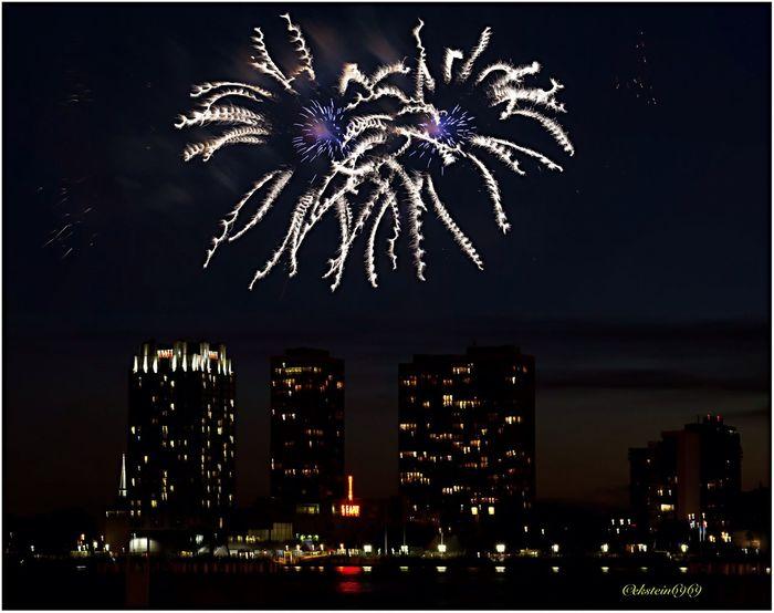 Fireworks Skyline Night Lights Night Photography