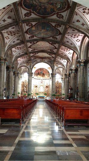 Iglesia de San Juan Bautista City Arch Ceiling Architecture Built Structure Interior Passageway Altar Architectural Column Catholicism Historic Church Architectural Feature Cathedral Pediment