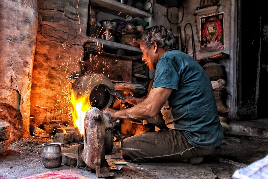 Street One Person Gold EyeEm Best Shots Beauty Of Village Life Old Ways Only Men Full Length Casual Clothing Men Occupation Working Workshop Real People Adults Only Indoors  Skill  One Man Only Senior Adult Manual Worker Adult People Young Adult Metal Industry Day