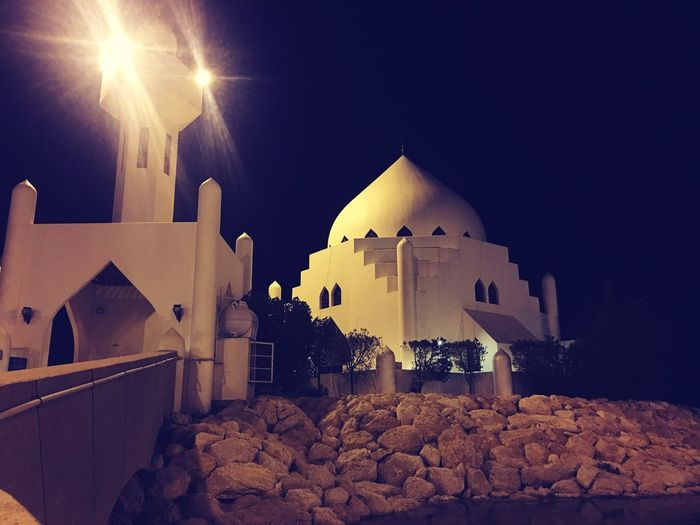 Place of faith Architecture Built Structure Building Exterior Religion Night Place Of Worship No People Sky Outdoors Spirituality Clear Sky Low Angle View Illuminated Nature