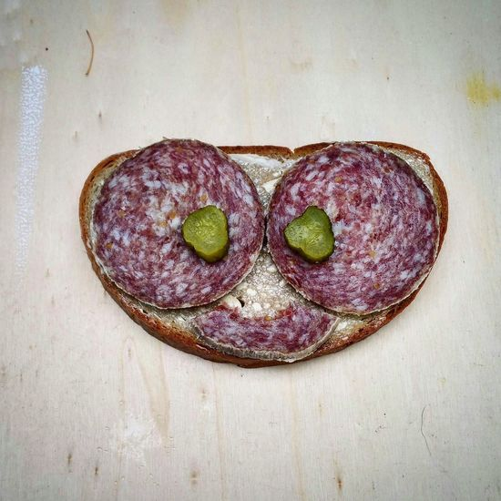 Smile. Cornichons Slice Of Bread Cold Cut Bread And Butter Belegtes Brot Read And Butter Sausage Eichsfeldertrave Mettwurst Wood - Material Table Close-up Prepared Food Serving Size Ready-to-eat
