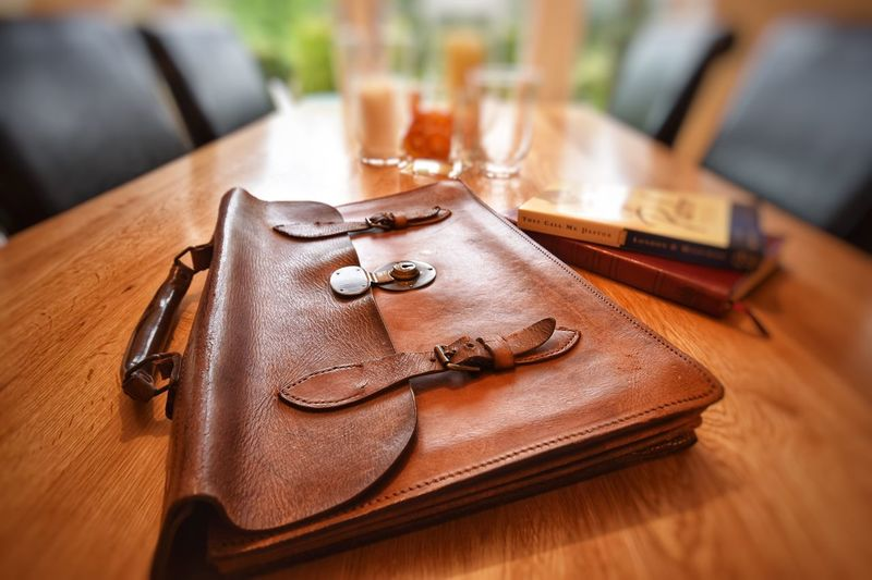 Vintage Business Satchel Table Indoors  Wood - Material Brown Still Life Close-up No People