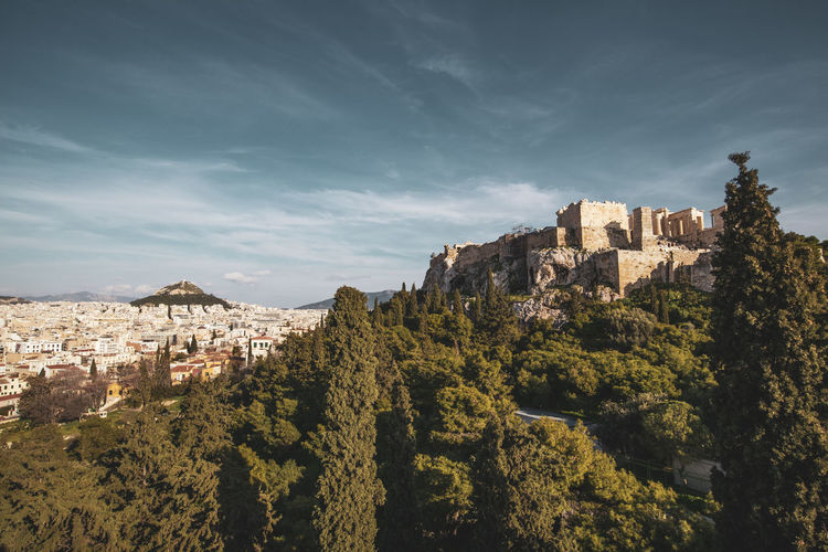 Athens Athens Greece Athens, Greece Acropolis Architecture Building Exterior Built Structure Sky Building Tree Nature Cloud - Sky Plant Residential District No People History The Past City Castle Day Mountain Fort Old Outdoors