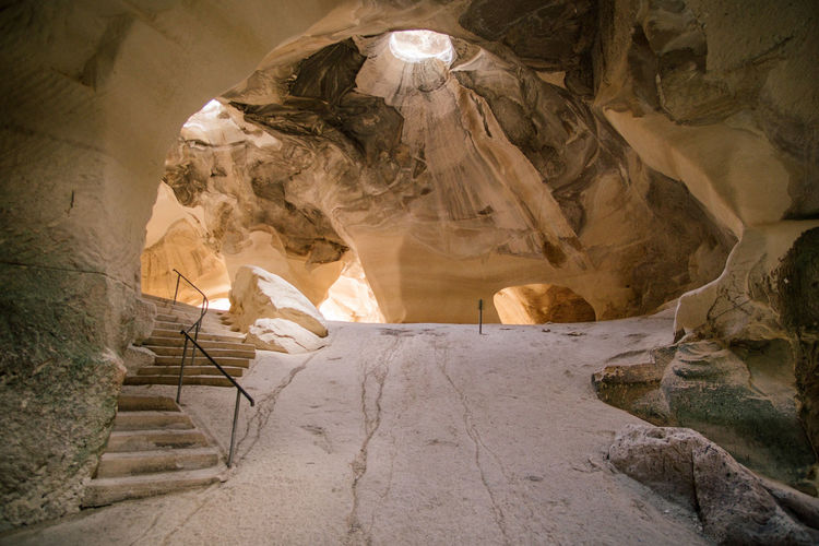 Israel Rock Formation Solid Rock Rock - Object Indoors  Cave No People Architecture Travel Destinations Geology Staircase Physical Geography Nature Day Beauty In Nature Low Angle View Steps And Staircases Illuminated Travel Eroded