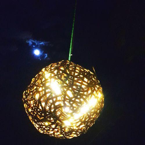 Mobilephotography Lights Marriott Weligama Moon Moonlight Illuminated Hanging Celebration Gold Colored Black Background Shiny