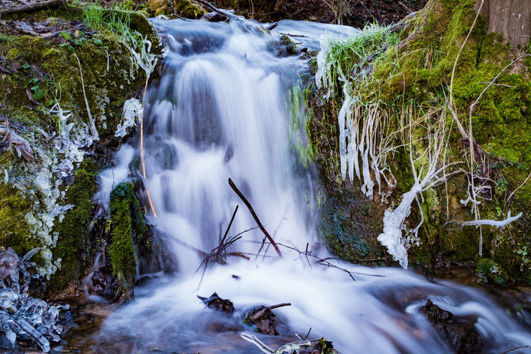 View of small waterfall in franconian switzerland