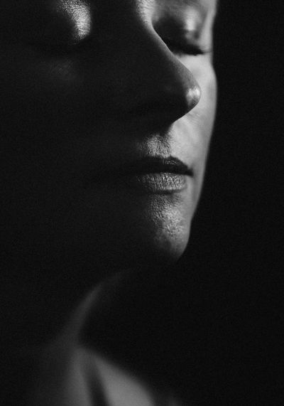 Black And White Blackandwhite Human Body Part Body Part Close-up Human Face One Person Portrait This Is Aging Eyes Closed  Black Background