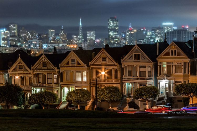 Illuminated cityscape at night