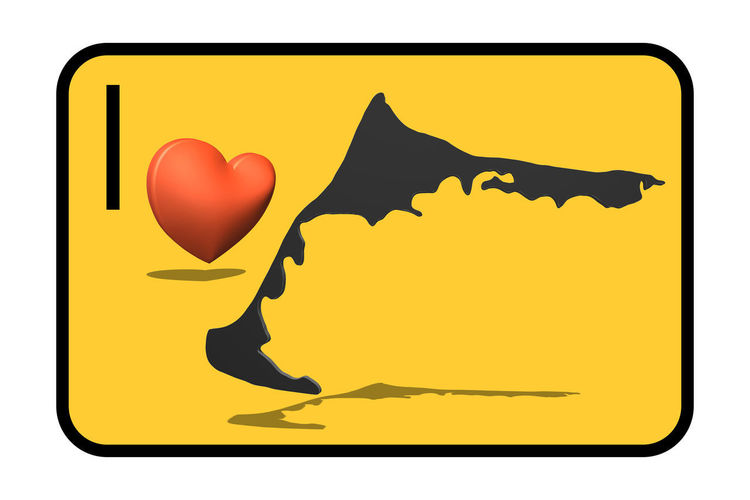 Town entrance road sign with caption, map of the island Darßt Fischland - me and heart symbol Yellow Animal Heart Shape No People Animal Wildlife Symbol Nature Close-up Animal Themes Communication Love Representation Animal Representation Vertebrate Mammal Emotion Outdoors Art And Craft