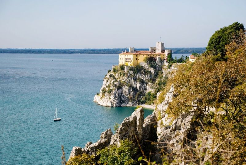 Sea Water Nature Rock - Object Architecture Built Structure Day Scenics Beauty In Nature No People Outdoors Tranquility Lighthouse Building Exterior Cliff Horizon Over Water Sky Duino Castle Duino Italy Adriatic Sea Karst