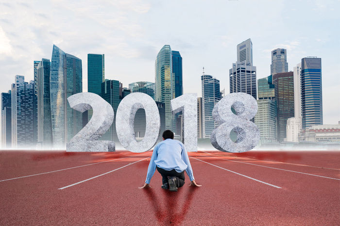 businessman on start line with text 2018 2018 Businessman Plan New Year Cityscape City Urban Skyline Skyscraper Running Track Full Length Men Rear View Sky Architecture Sports Track Track Starting Block Men's Track Starting Line Office Building Finish Line
