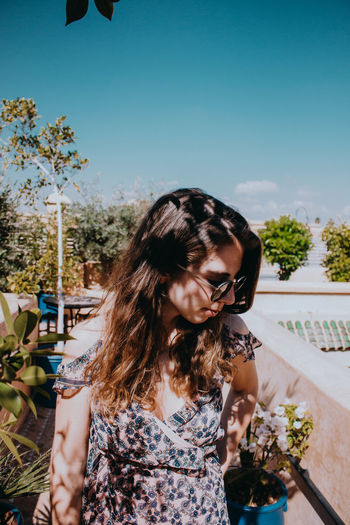 Woman One Person Long Hair Young Adult Sky Day Hairstyle Outdoors Plant Rooftop Riad Rooftop Riad Marrakesh Morocco Morning Light