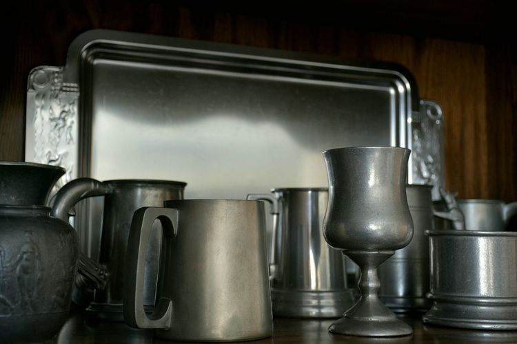 Pewter collection Pewter Mugs Tankards Metal Indoors  No People Domestic Life Food And Drink Collection Drinking Vessel