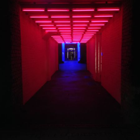 Blue Built Structure Ceiling Corridor Design Flooring Futuristic Leading Neons Pink Red Symmetry The Way Forward All The Neon Lights