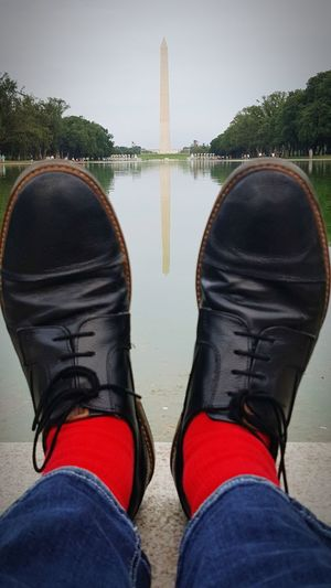 Seriously, i do not associate myself with any political party, i just happened to be in DC while wearing my bright Red socks! Reflection Shoe Symmetry Socks Random Feet Washington Monument Washington, D. C. The Mall Big Pointy Thing TK Maxx Socksie