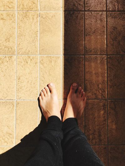 EyeEm Selects Human Foot Low Section Human Leg Real People Personal Perspective One Person Standing Tile Barefoot Lifestyles Tiled Floor Outside Simetry Human Body Part sun Fresh On Market 2017